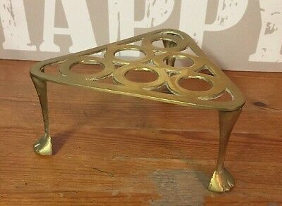 Lovely Antique Brass Triangle Shape Trivet / Stand