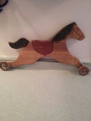 "* Country * Folk Art * Wood Horse * 21"" Wall Hanging * signed"