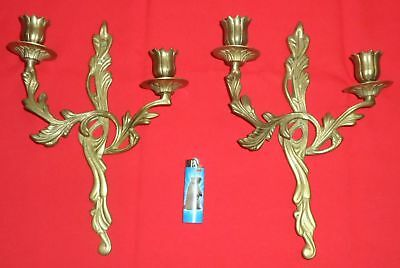 Pair Of Vintage Brass Wall Sconces Rococo Style Candle Holders Heavy Large