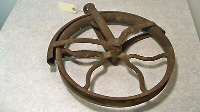 "Large Vintage Cast Iron 14"" Wheel Well Pulley Primitive Old Barn Hay Loft Farm"