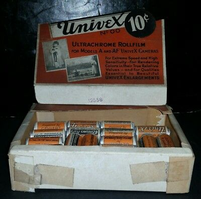 22 NEW Old Stock Univex Ultrachrome No.00 Film Roll July 1936 General Store Box