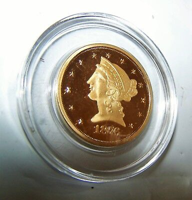 Fantasy Coin 1876 Liberty Head Gold Plated US Five D Dollars Proof Copy