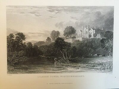 1835 Antique Print; Lilburn Tower, near Wooler Northumberland after Thomas Allom