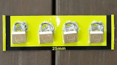 4 pc. - Small (25mm) Keyed Padlocks.