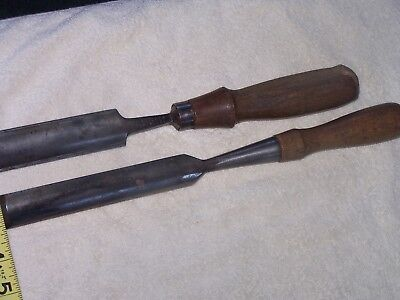 Lot Of 2 Vintage P S & W W. Butcher Cast Steel Wood Chisels  Turning Hand Tools