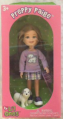 Preppy Paige Purple White Dog NEW Ty L'il ONES DOLL NEW 4.25 inch lil little one
