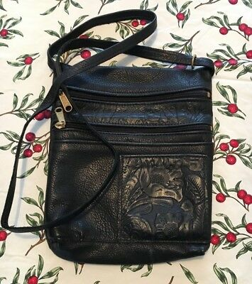 EUC Vintage Handmade Hand Crafted Black Leather Flower Cross-body Purse