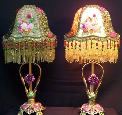 Pair of Antique Tole Lamps W/Hand Made Period Gish Shades 1920's Era