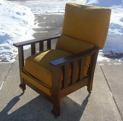 Antique Morris Mission Kelly Label Arm Chair Lounge Recliner WI IA w Great Story
