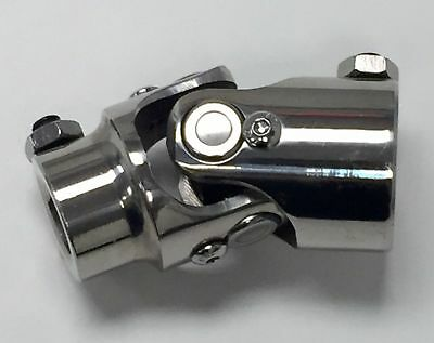 """Polished Stainless Steel Universal Single Steering U-Joint 1"""" DD x 3/4"""" DD"""