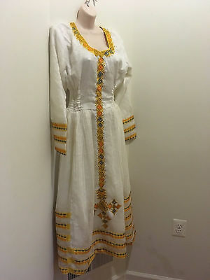 Traditional embroidered Ethiopian Habesha dress 100% cotton-Yellow-gold Blue 2ps