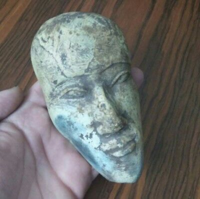 Rare Ancient Egyptian Stone Large Face Of Person  (600-1000) Bc