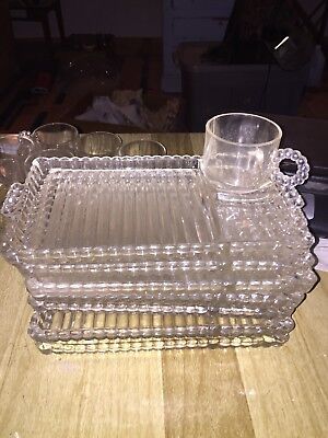 Hazel Atlas Beads And Ribs Tray Cup Snack Set