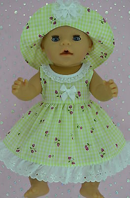 "Play n Wear Doll Clothes To Fit 17"" Baby Born  LIME GINGHAM OVERLAY DRESS~HAT"