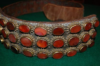 18th 19th Cent Turkish Ottoman Empire Leather Carnelian Belt for Sword