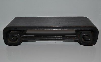 Antique Chinese Hardwood Scroll-Form Stand Wood