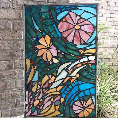 Abstract Flowers   Stained Glass Mosaic Window Suncatcher Panel Transom OOAK