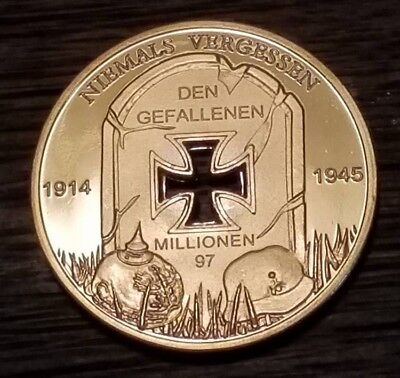 WW1 WWII German Fallen soldiers commerative Coin 1914-1945 Iron Cross Grave