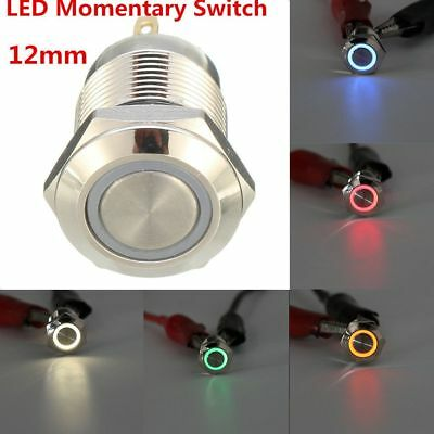 12V 12mm LED Power Push Button Switch Momentary  Waterproof Metal 4 Pin