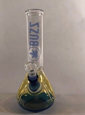 7 In Custom Glass Hookah Water Glass Blue Yellow clear Pipe Bong w/ Ice Catcher
