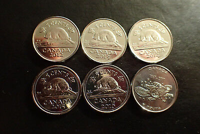 6 X Canadian Nickel 5 cents Coin Canada 2012 2013, 2014, 2015, 2016 & 2017 UNC.
