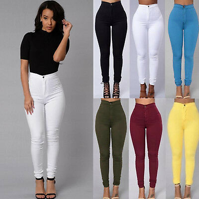Women Pencil Stretch Casual Look Denim Skinny Jeans Pants High Waist Trousers US