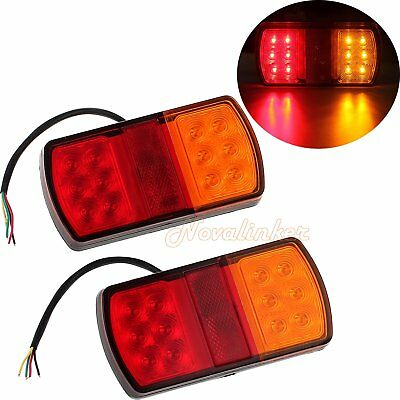 2 x TRAILER TAIL STOP LIGHT LED LAMPS 12 LEDS INDICATOR SUBMERSIBLE BOAT 12 VOLT