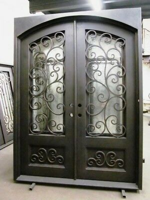 """Wrought Iron Entry Door 61.5""""W X 81""""H Choice Of Glass"""
