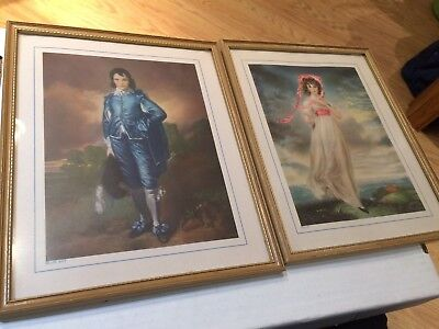 Vintage Blue Boy by Gainsborough and Pinkie by Thomas Lawrence framed prints