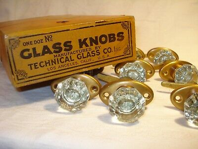 Antique Glass Cabinet Door Knob Clear Glass NOS 1930's-Sold Invidiually-10 Aval.