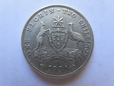 1934 Australian Silver Florin King George V Very Nice Collectable Condition