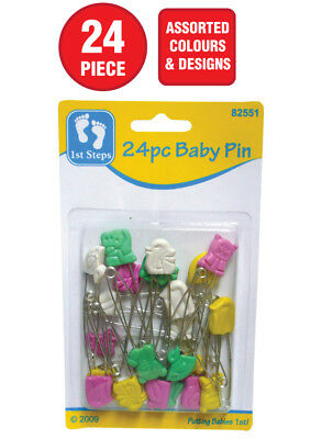 24x BABY SAFETY PINS 45mm SILVER NAPPY CLOTHING LOCKING PINS BABY SHOWER GIFT