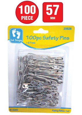 100x BABY SAFETY PINS 57mm SILVER NAPPY CLOTHING LOCKING PINS BABY SHOWER GIFT