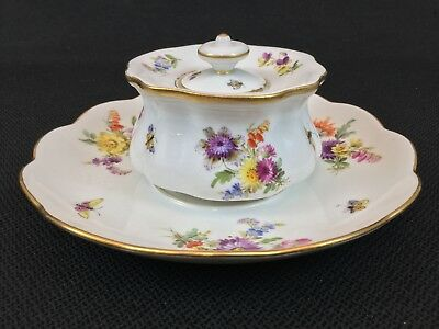 Antique Meissen Inkwell & Saucer Flowers Insects Stunning Detail