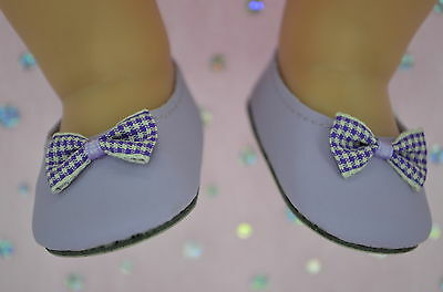 """Dolls Shoes For 17""""Baby Born~18""""American Girl LAVENDER SHOES WITH GINGHAM BOW"""