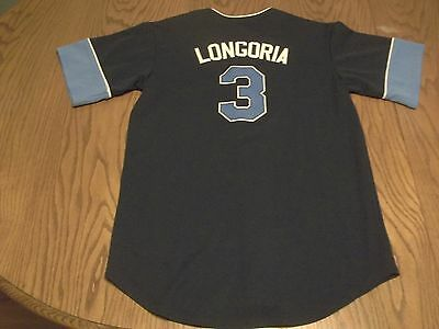 Tampa Bay Rays Evan Longoria #3 Mlb Brand Button Up Jersey -Youth Xl = Adult Sm