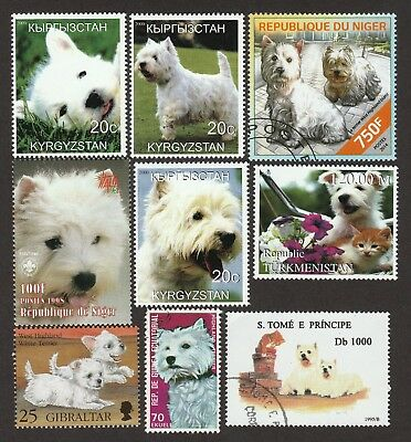 ON SALE!!  WEST HIGHLAND WHITE TERRIER **Int'l Postage Stamp Collection** WESTIE