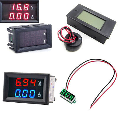 Dual Blue&Red Red&Red LED Digital Voltmeter Amperemeter  Panel Amp Volt Gauge DC