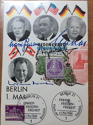 USA Präsident Lyndon B.Johnson Signed,1964 In Berlin Mit Erhardt,Lübke ,Brandt