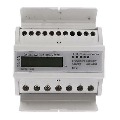 Energy Power 80A Electricity Din Rail Watt Hour Kwh Meter LCD 3 Phase 4 Wire