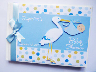 Personalised Stork Baby Shower Boy Guest Book - Any Design