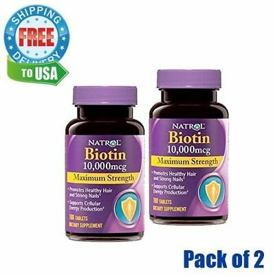 Natrol Biotin Tablets for Healthy Strong Hair & Nails 10,000mcg 100 Count 2pk