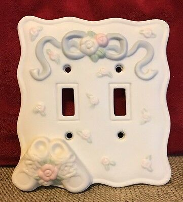 Vintage Porcelain Light Switch Plate Cover Double Nursery Baby Pastel