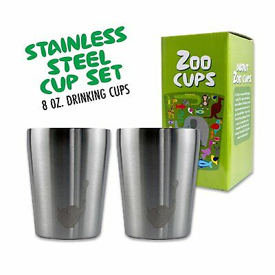 Zoo Cups Stainless Steel Cup Set for Kids, 2 Double Wall Insulated 8 oz Cups,