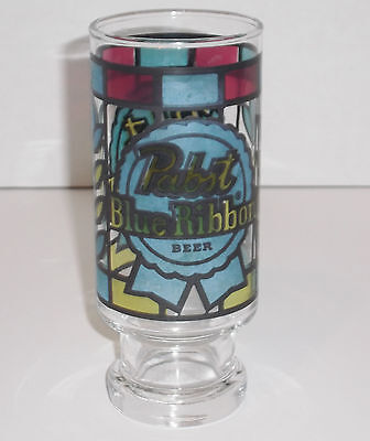 "Vintage PABST BLUE RIBBON Stained Glass Style Beer Glass 6.5"" 14 Ounces PBR"