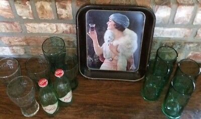 Coca-Cola Vintage Serving Tray with 9 Coke Glasses and 2 Limited Edition Bottles