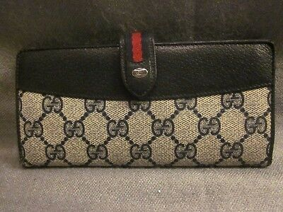 Authentic Navy Monogram Vintage Gucci Wallet