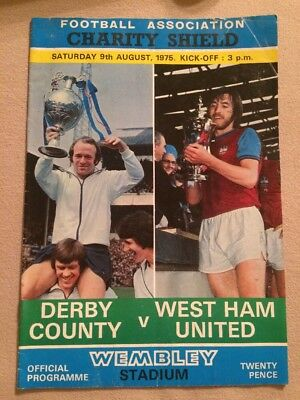 Derby County v West Ham United Wembley Stadium Official Programme 9 August 1975
