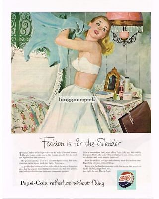 1953 PEPSI-COLA Young Woman Wearing Strapless Bra art by BOB LEVERING Vtg  Ad