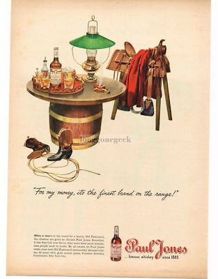1945 PAUL JONES Whiskey Saddle Horse Barrell Table Cowboy Boots art VTG PRINT AD